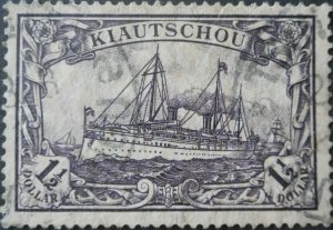 German Kiautschou 1905 One and a Half Dollar with TSINGTAU postmark