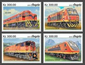 Angola - 2019 Trains on Stamps - 4 Stamp Set - ANG190206a