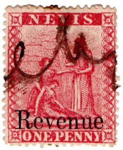 (I.B) Nevis (St Kitts) Revenue : Duty Stamp 1d (1879)