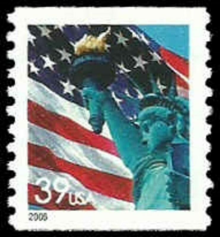 US #3979 39c Flag/Statue of Liberty, coil, 2006, MNH, (PCB-1)