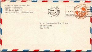 1943 WWII airmail postal stationery plane 6¢ War Bonds cancel SF CA > NY