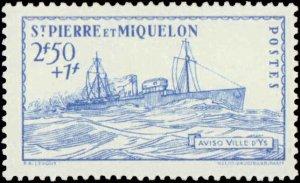St. Pierre & Miquelon #B8A-B8C, Complete Set(3), 1941, Hinged