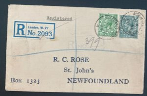 1930 London England Registered Wax Seal Cover To St Johns Newfoundland