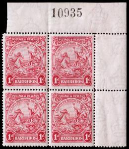 Barbados Scott 167 Plate Block of 4 (1925) Mint NH F-VF C