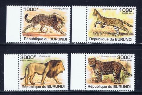 Burundi 842-45 NH 2011 Big Cats