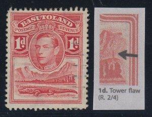 Basutoland, SG 19a, used Tower Flaw variety