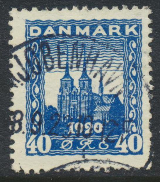 Denmark Scott 160 (AFA 116), 40ø blue Reunification FVF Used