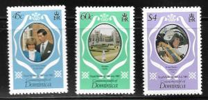 DOMINICA 701-703 MNH ROYAL WEDDING  DIANA SET 1981