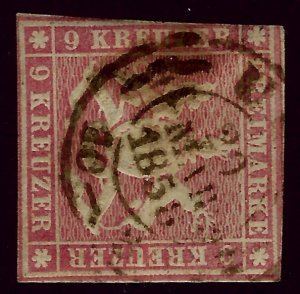 Wurttemberg SC#17 Used Fine smudged cancel SCV$52.50...Worth a Close Look!