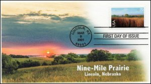 AO-C136, 2001, Nine-Mile Prairie, 70 cent. Scenic American Landscapes, Add-on