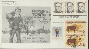 Bell Cachets 2171 Father Flanigan Boy's Town Nebraska Statehood 1949 BT Stamp