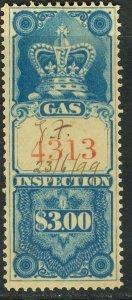 CANADA 1875 $3.00 GAS INSPECTION REVENUE VDM. FG14 F-VF USED