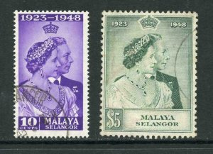 Selangor SG88/9 1948 Silver wedding used Cat 22.30 pounds