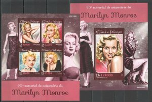 ST1570 2016 S. TOME & PRINCIPE FAMOUS PEOPLE MARILYN MONROE 1KB+1BL MNH