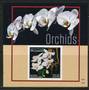 NEVER BEFORE OFFERED RARE MICRONESIA ORCHIDS SOUVENIR SHEET  IMPERFORATE MINT NH