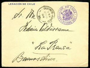 EDW1949SELL : CHILE Early 1914 Free Frank usage in Argentina.