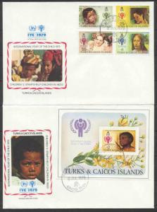 Turks Caicos 386-90, 2 FDC Children year