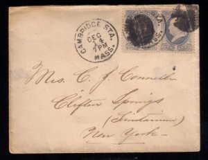 U.S. Scott #156 Pair 1873 Cover Cambridge Sta.,Mass. to Clifton Springs N.Y.