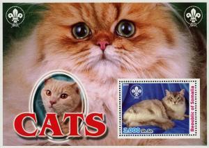 Somalia Cat Pet Domestic Animal Fur Souvenir Sheet Mint NH