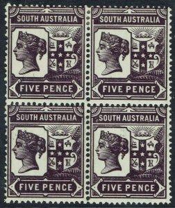 SOUTH AUSTRALIA 1894 QV ARMS 5D */** BLOCK WMK CROWN/SA PERF 15