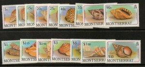 MONTSERRAT SG757/72 1988 SHELLS MNH