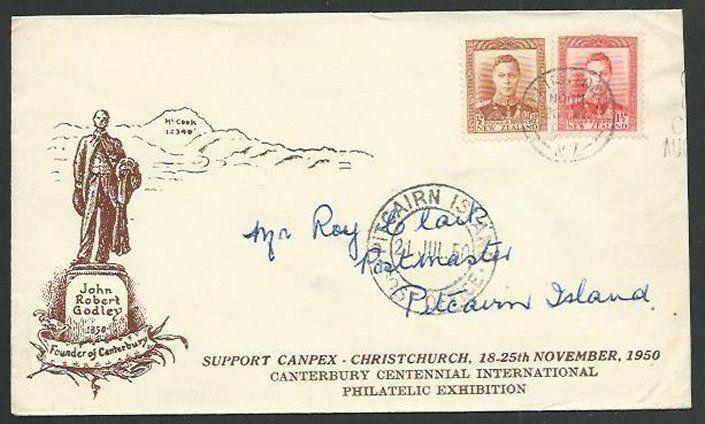 PITCAIRN 1950 Inwards cover to NZ with arrival cds on the front............59792