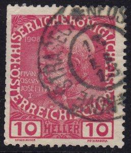 Austria - 1908 - Scott #115 - used - NOVE STRASECI pmk Czech Republic