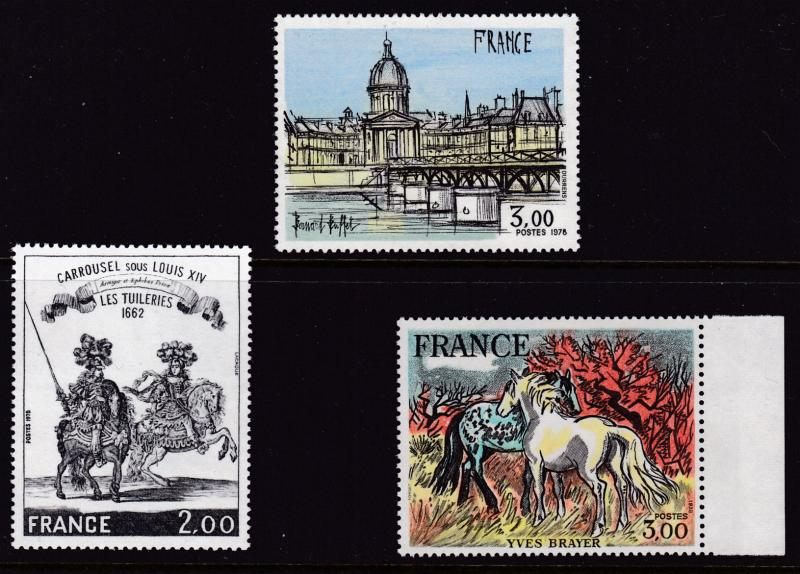 France 1978 ART Complete (3) 3fr Horses by Yves Brayer  Colorful Pristine VF/NH