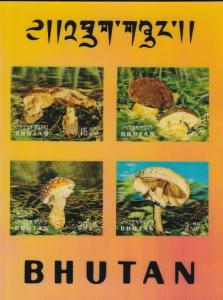 Bhutan # 154Cf & 154Eg, Mushrooms, 3-D Souvenir Sheet, NH, 1/2 Cat.