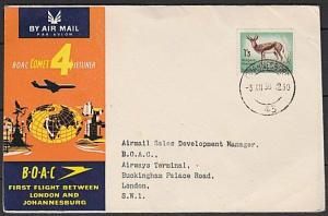 SOUTH AFRICA 1958 BOAC first flight cover to London........................27542