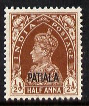 Indian States - Patiala 1941-46 KG6 1/2a red-brown unmoun...