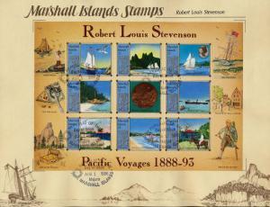 Marshall Islands 190 on Souvenir Page,  Robert Louis Stevenson, Yacht, Horse