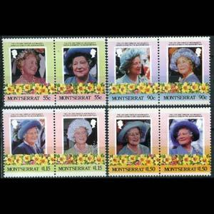 MONTSERRAT 1985 - Scott# 558-61 Queen Mother Set of 8 NH