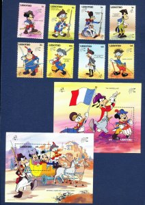 LESOTHO - 710-719 - VF MNH - Disney - French Military Uniforms - 1989
