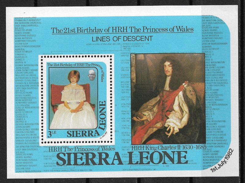 1982 Sierra Leone 534 Princess Diana Lines of Descent MNH S/S