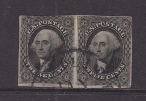 US Sc 17 used 1851 12c black Washington Horizontal Pair