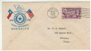 1936 STATE OF TEXAS 100th Anniv.  Better Cachet! 776-49 1st Pabst TX Battle Flag