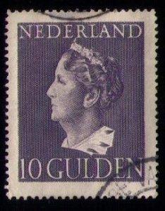 NETHERLANDS Sc #281 Used Wilhelmina 10 gulden VERY FINE