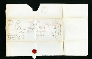 Nicaragua Cover 1849 Money Letter Stamp-less Cover Rare