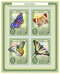 SOLOMON ISLANDS - 2017 - Butterflies - Perf 4v Sheet - MNH