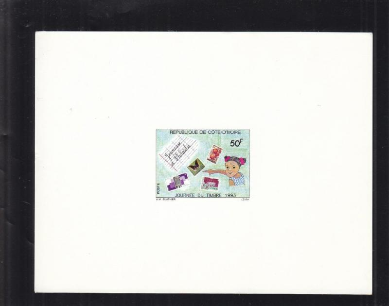 1993, Ivory Coast: Sc # 931, Girl Stamp Collecting, MNH, Die Proof (S14654)