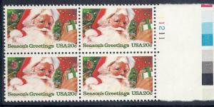 US#2064 $0.20 Christmas Plate block of 4 (MNH) CV $3.25