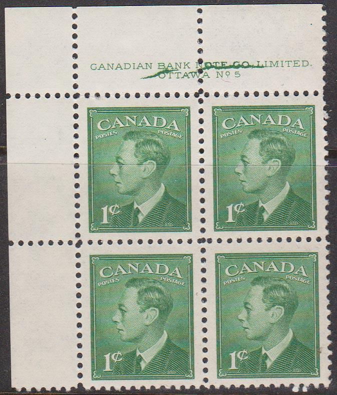 Canada #284 Plate 5 UL Cracked Plate - USC Cat. $50.00 VF-NH