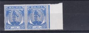MALAYSIA  SELANGOR  1949  S G 100   15C  ULTRAMARINE   MARGINAL PAIR   MNH