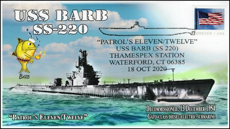 20-290, 2020, USS Barb, Event Cover, Pictorial Postmark, SS-220, Waterford CT