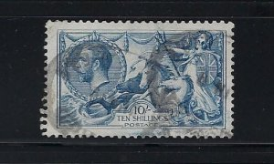 GREAT BRITAIN SCOTT #181-  10 SHILLING- 1919 RETOUCHED SEAHORSES- USED