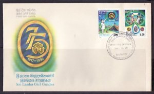 Sri Lanka, Scott cat. 1071-1072. Girl Guides Anniversary. First day cover. ^