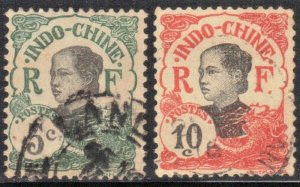 INDO-CHINA SC #44+45 **USED**   1907  ANNAMITE GIRL SEE SCAN