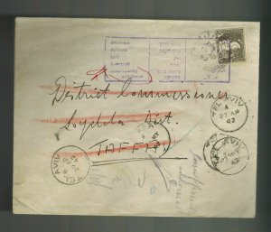 1942 Lydda Palestine cover to Taffa Insufficient Address District Commissioner