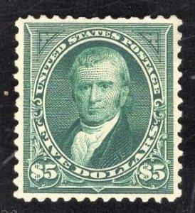 US Stamp #278 $5 Dark Green Marshall MINT HINGED OG SCV $2000.00. PSE Cert